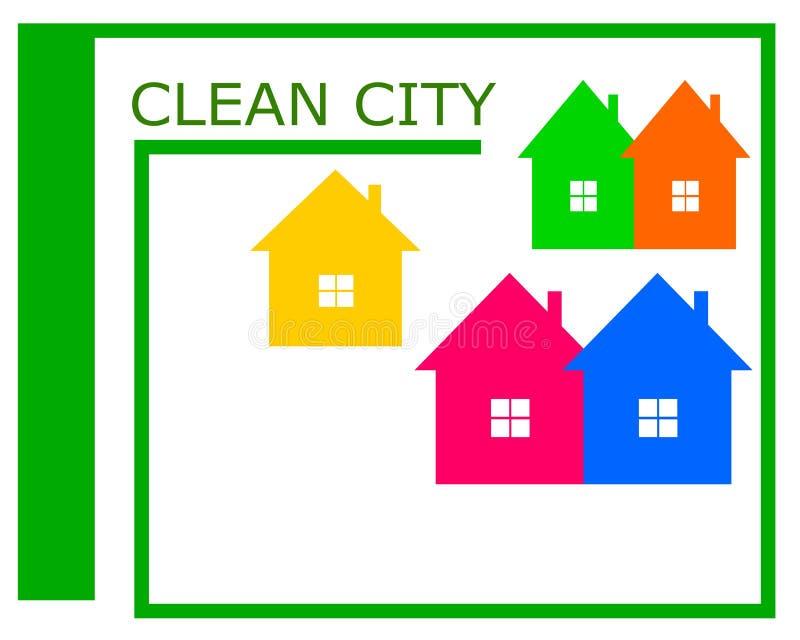 一个干净的城市商标的传染媒介图画 皇族释放例证