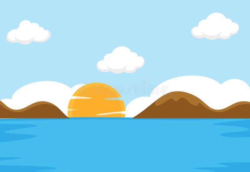 一个平的海场面 向量例证