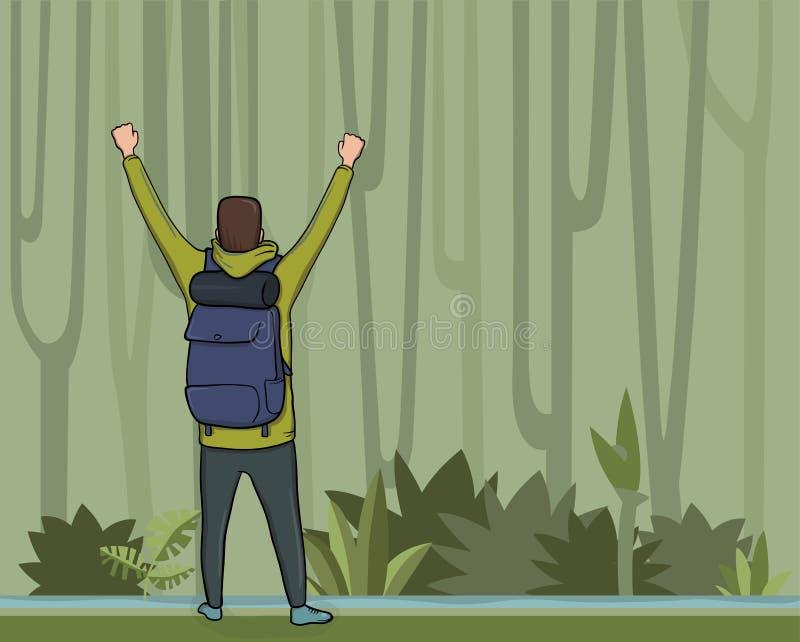 一个年轻人,后面观点的背包徒步旅行者用在密林森林远足者的被举的手,探险家,登山家 向量例证