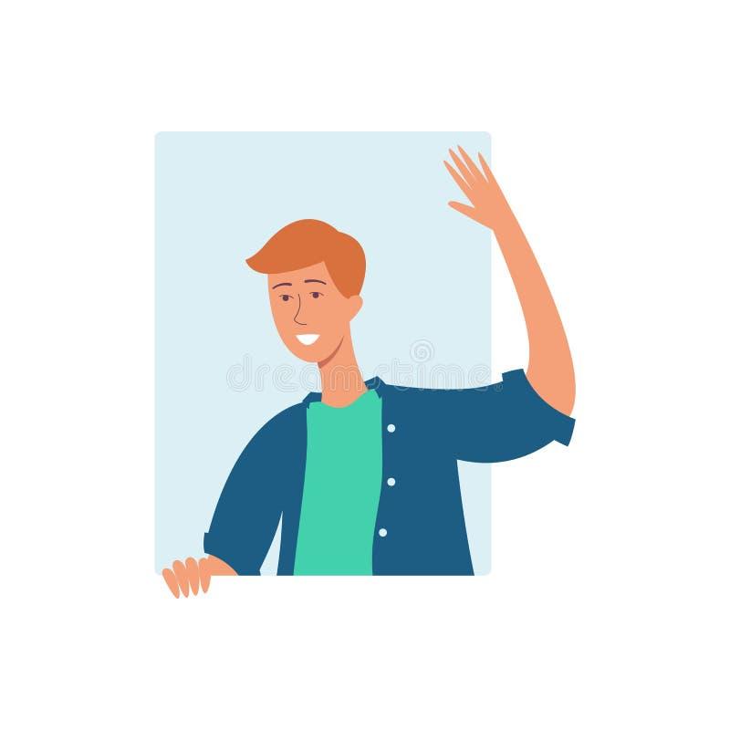 一个年轻可爱的棕色毛发的人、一个人和一个人衬衣和T恤杉的,微笑,倾斜窗口和波浪 皇族释放例证
