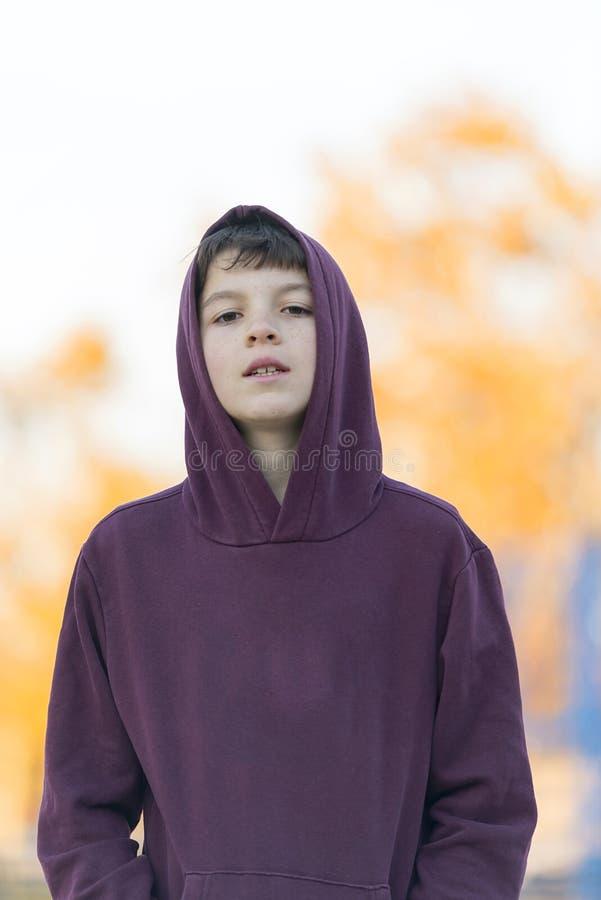 一个年轻可爱的男孩的画象户外红色敞篷的 免版税库存照片
