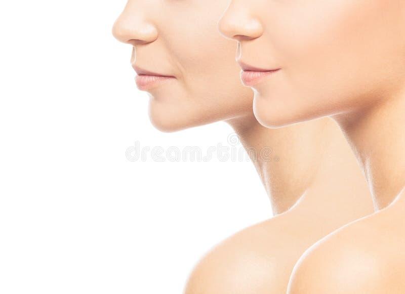 一个年轻和老女孩的画象 Skincare、整容手术、构成和skincare概念 图库摄影