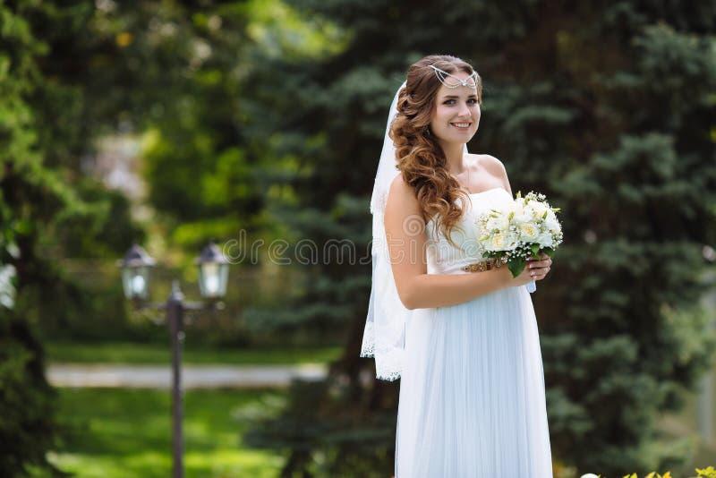 一个年轻新娘和面纱,立场的画象一套长的流动的白色婚礼礼服的在公园反对树,藏品 库存照片
