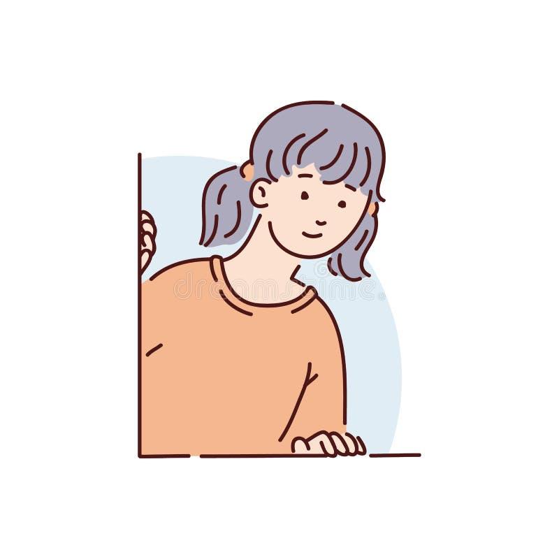 一个年轻深色的女孩、妇女或者少年一件红色毛线衣的偷看并且注视着好奇地在窗口外面后面 库存例证