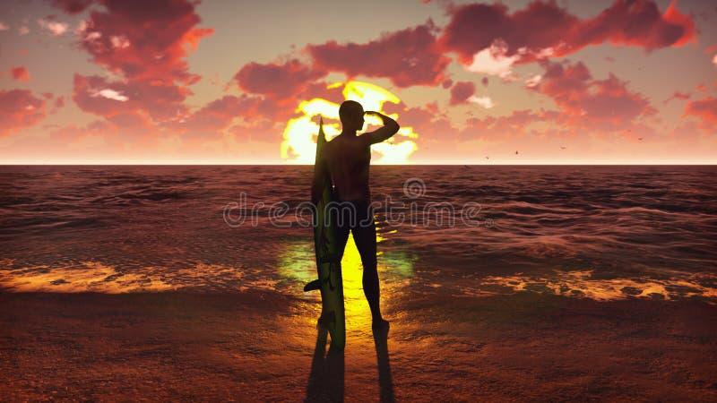 一个年轻男性冲浪者身分的剪影在海滩的在与冲浪板和观看海浪的日出 库存照片