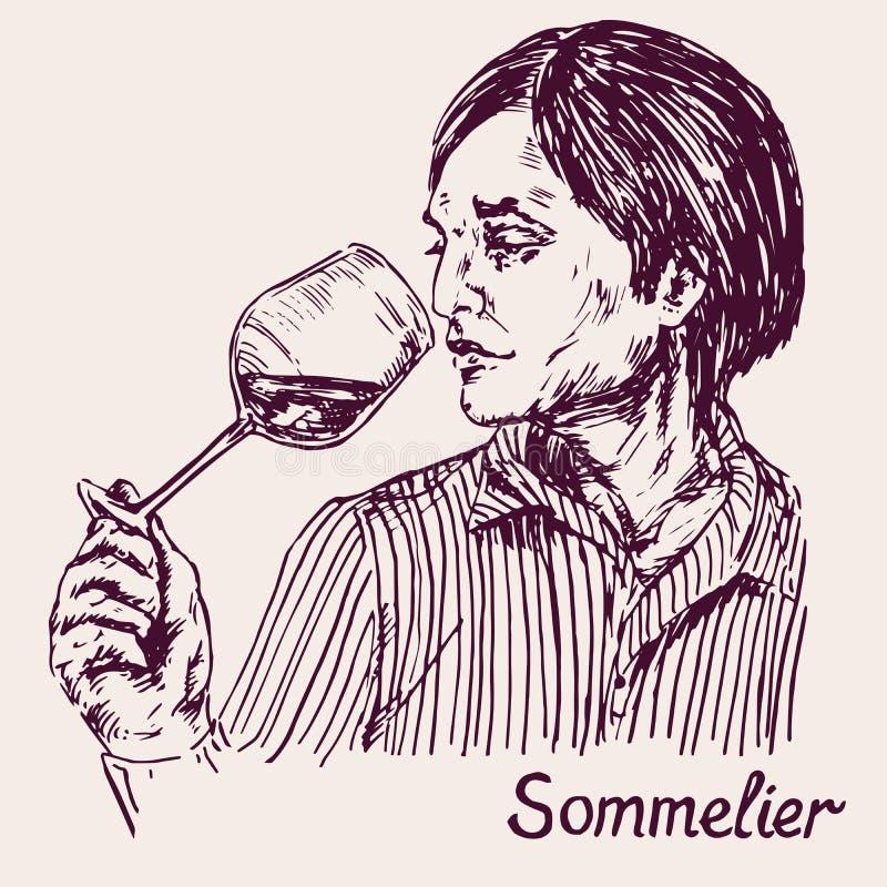一个年轻男性斟酒服务员斟酒的服务员的画象,品酒 库存例证