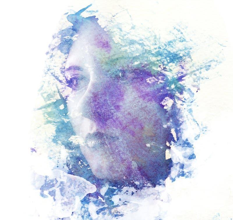 一个年轻美丽的女孩的两次曝光 一张女性面孔的被绘的画象 在白色背景隔绝的多彩多姿的图片 f 库存例证