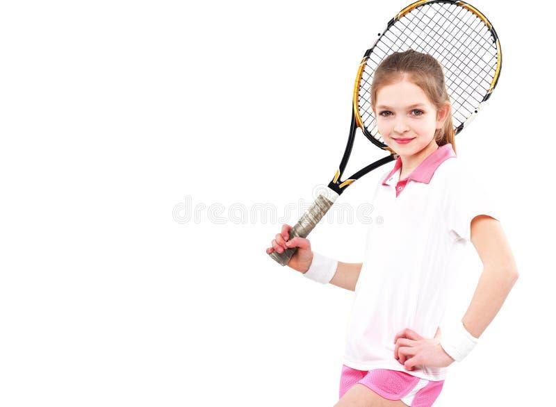 一个年轻美丽的女孩网球员的画象 免版税库存图片