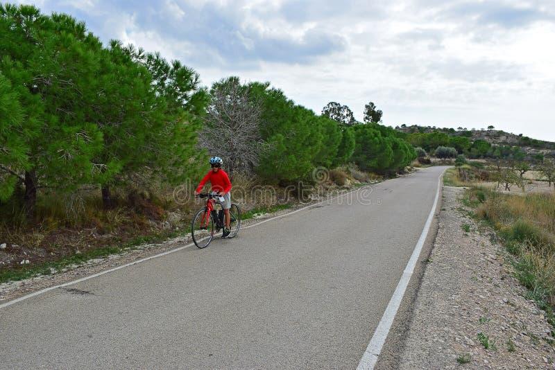 一个年轻骑自行车者在国家 图库摄影