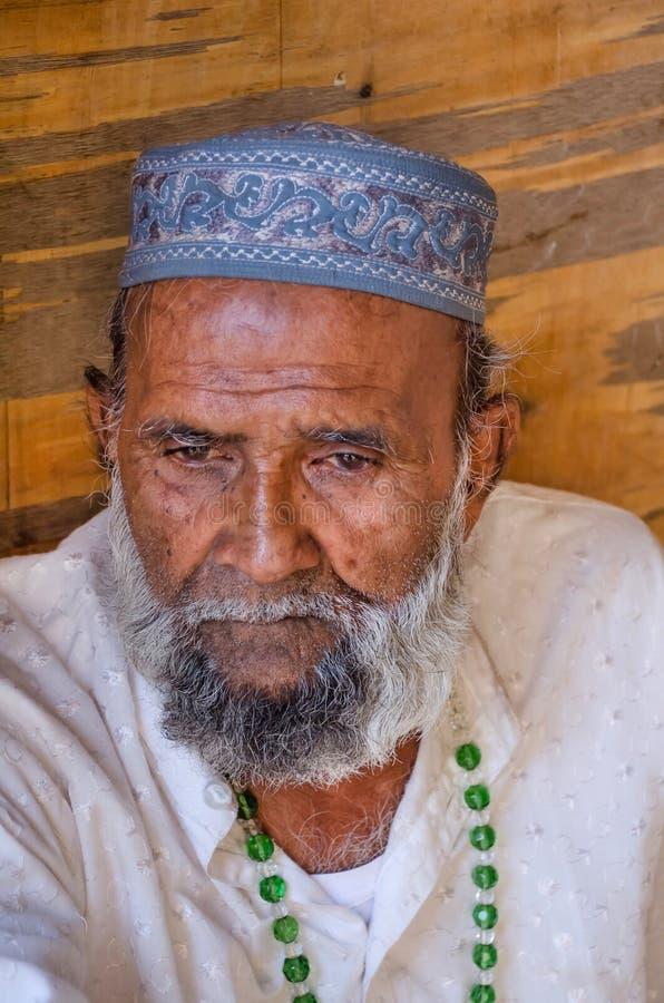 一个年迈的印地安回教人的画象 免版税库存照片