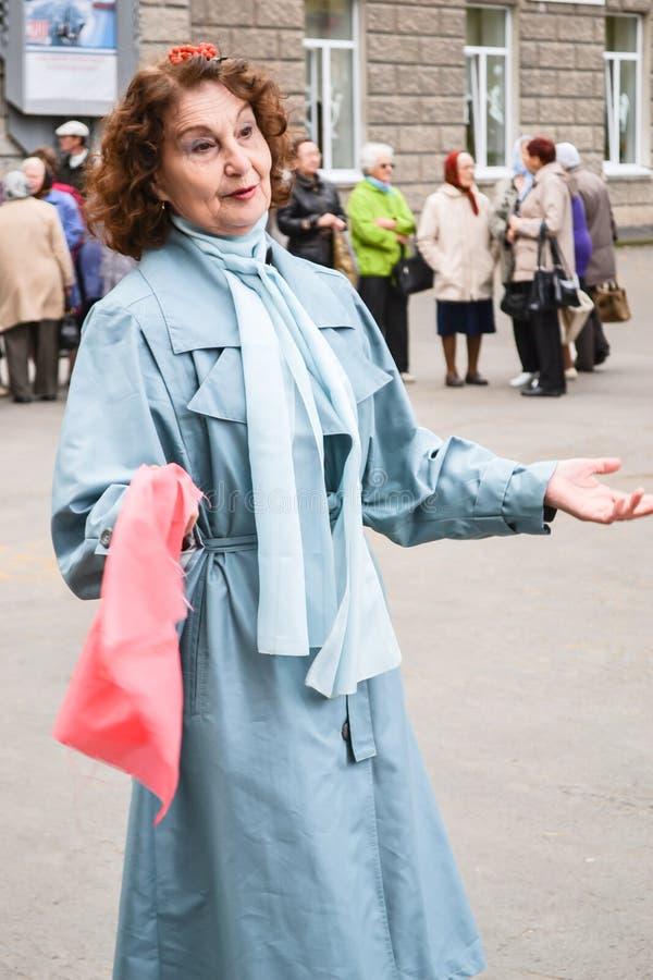 一个年长人的天在俄罗斯,一名年长妇女 库存照片