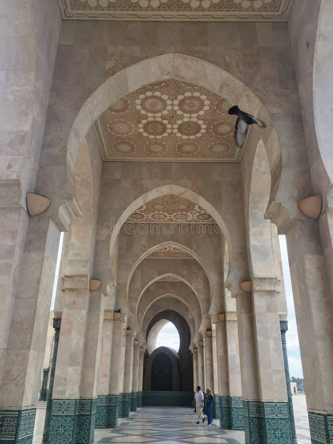 一个庭院在哈桑二世清真寺 免版税库存照片