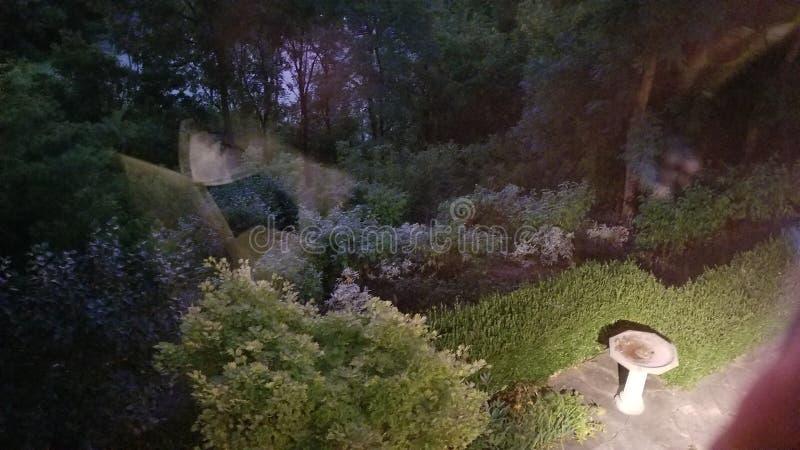 一个庭院在晚上 库存照片
