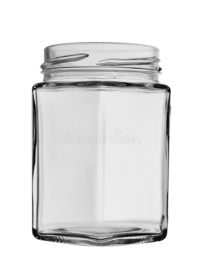 一个异常的形式的被打开的玻璃瓶子与在白色背景隔绝的边的 库存图片
