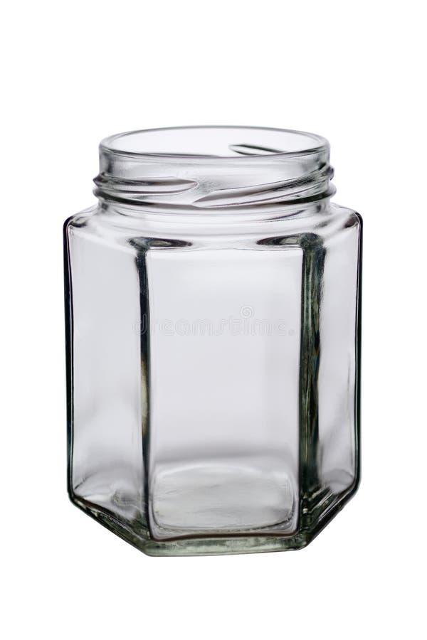 一个异常的形式的被打开的玻璃瓶子与边的在白色背景 免版税库存照片