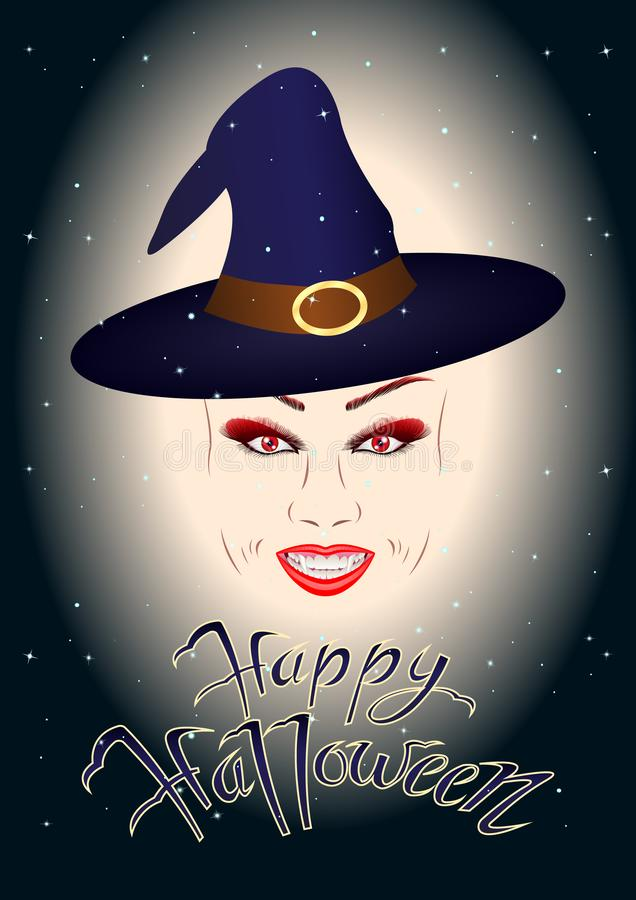 一个微笑的女孩的头,巫婆,一个巫术师帽子的吸血鬼在满天星斗的天空,题字愉快的万圣夜的背景 向量例证