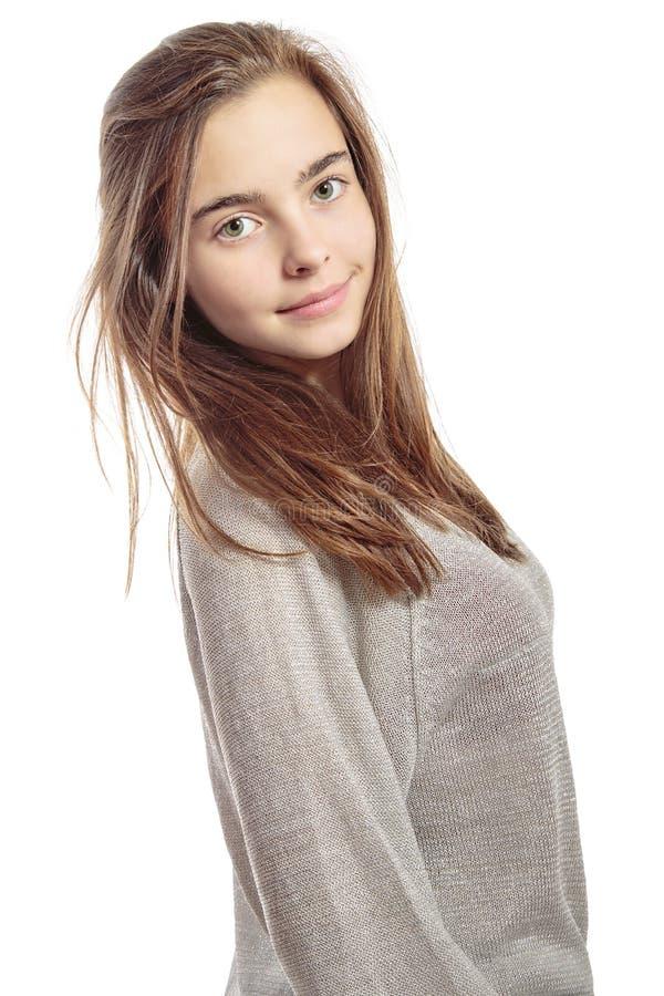 一个微笑的女性少年的画象 免版税库存图片