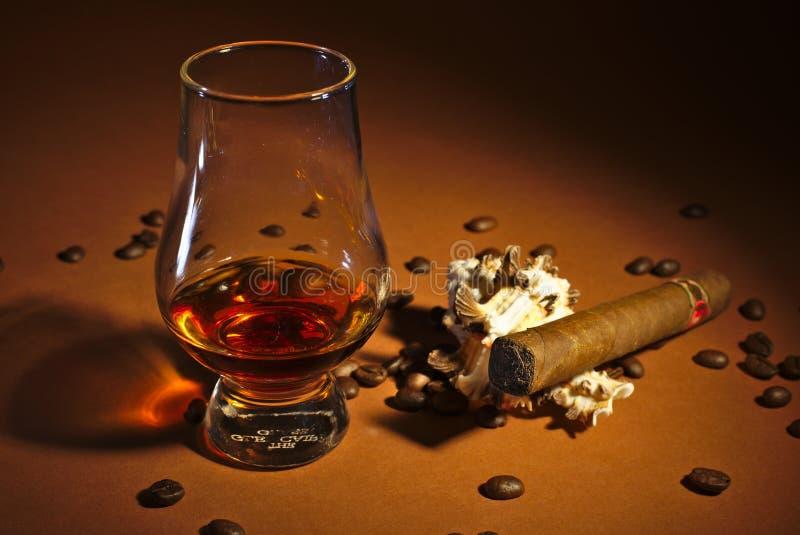 一个微量威士忌酒和雪茄 库存照片