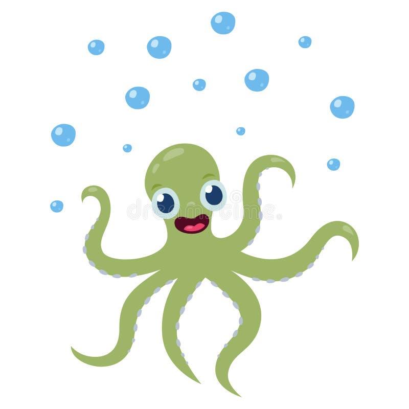 一个快乐,逗人喜爱的章鱼在动画片样式的海传染媒介被隔绝的例证微笑着在水面下 皇族释放例证