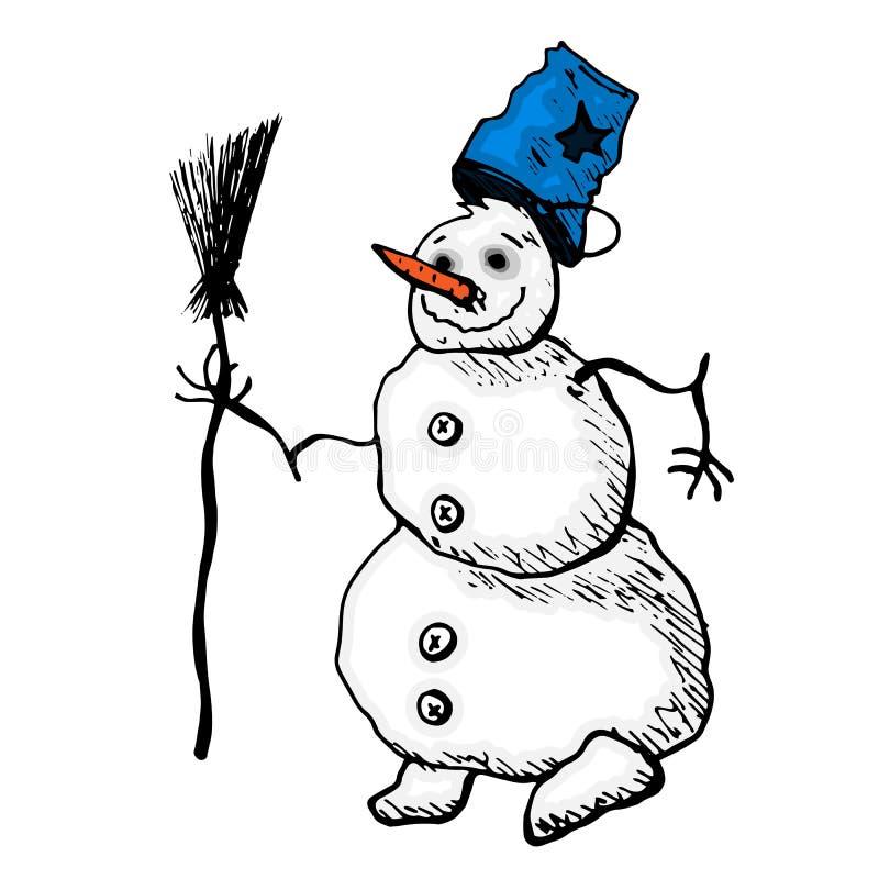 一个快活的雪人坐与圣诞树和袋子 网站或明信片的传染媒介象 向量例证