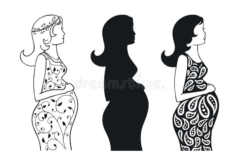 一个怀孕的女孩的集合剪影 皇族释放例证