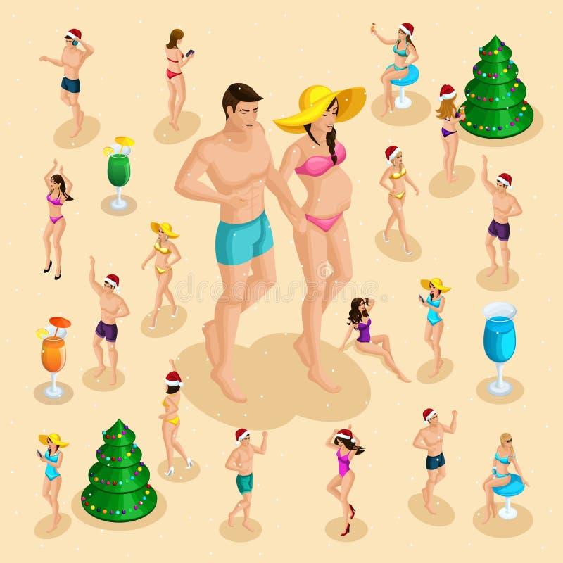 一个怀孕的女孩的Isometry同行陪数字有乐趣3D人的她的丈夫,并且妇女庆祝圣诞节幸福圣诞节 库存例证