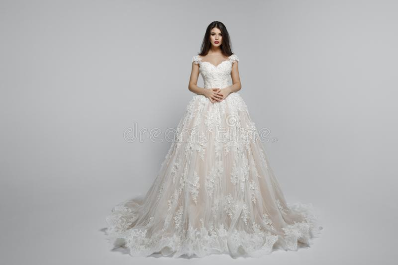 一个惊人的女性模型的前面看法在长的公主wendding的礼服的,隔绝在白色背景 免版税库存图片