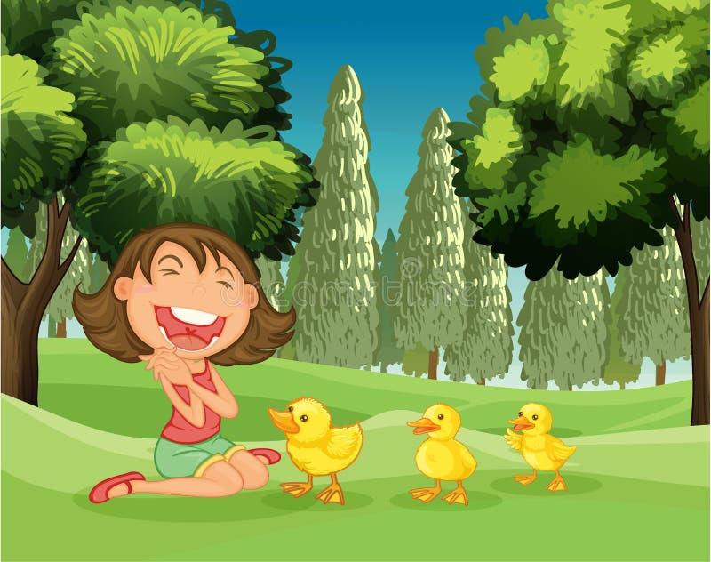 一个愉快的女孩和三只鸭子 向量例证