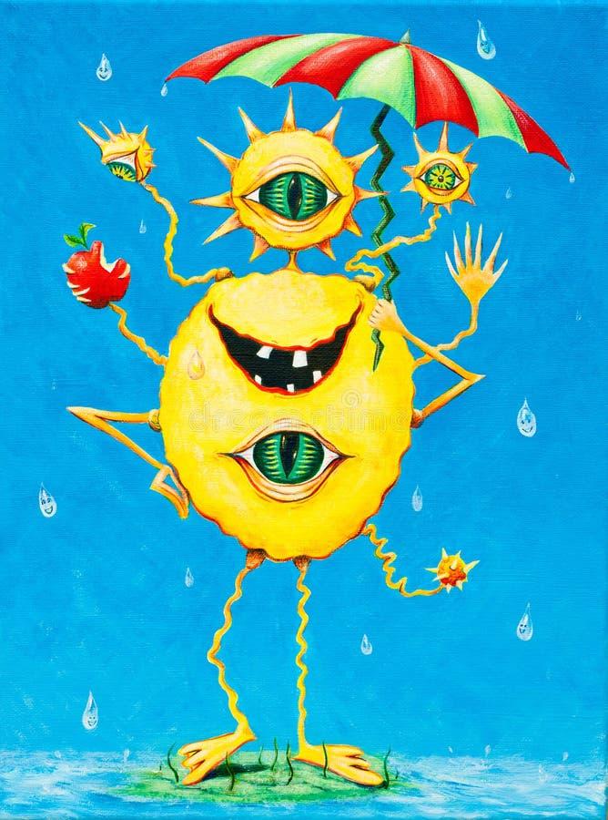 一个愉快的妖怪的滑稽的绘画在雨中 库存照片