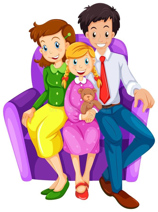 一个愉快的家庭坐长沙发 皇族释放例证