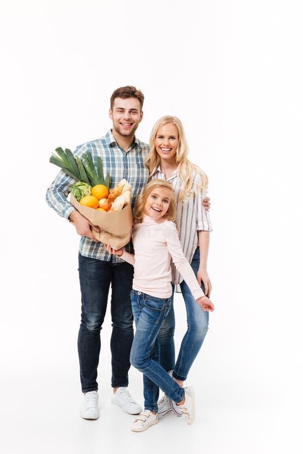一个愉快的家庭的全长画象 免版税库存图片