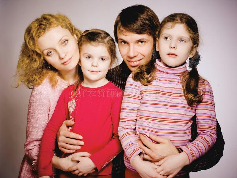 一个愉快的家庭的画象 免版税库存图片