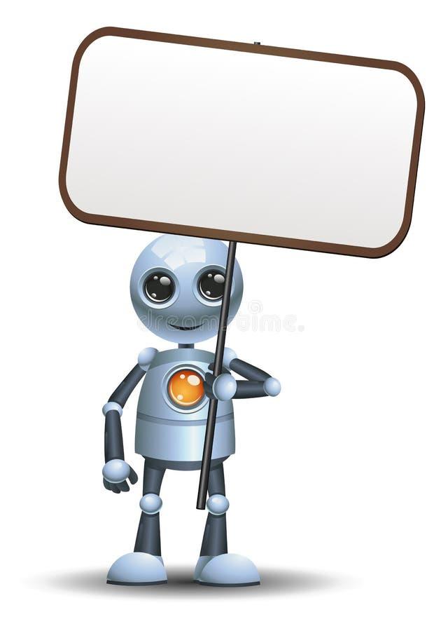 一个愉快的小的机器人商人举行标志的例证 库存例证