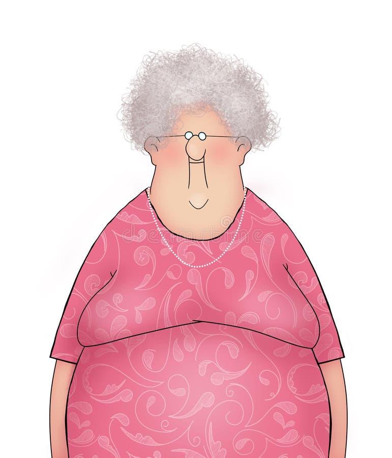 一个愉快的微笑的老妇人的动画片 向量例证