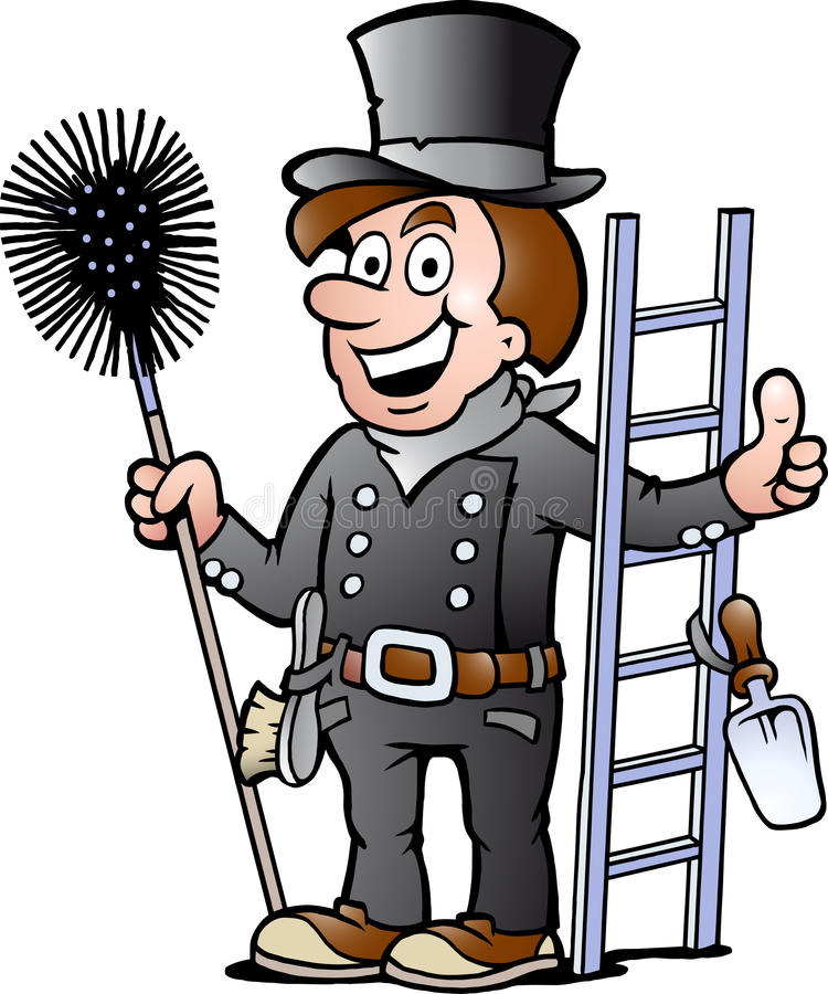 一个愉快的扫烟囱的人的例证 库存例证