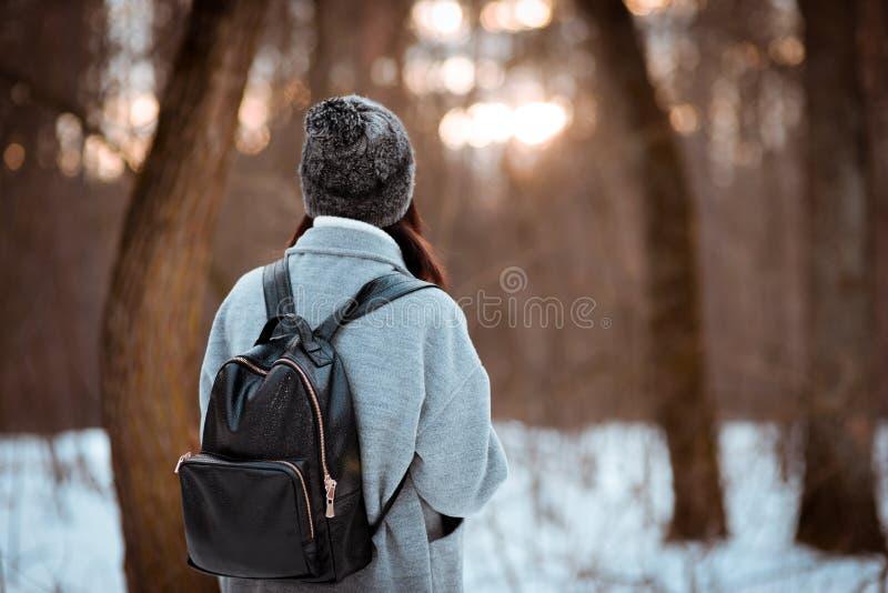 一个愉快的美丽的女孩的画象有棕色头发的在冬天森林在行家样式,生活方式穿戴了 免版税图库摄影