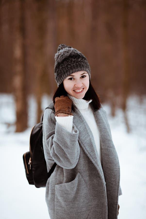 一个愉快的美丽的女孩的画象有棕色头发的在冬天森林在行家样式,生活方式穿戴了 库存照片