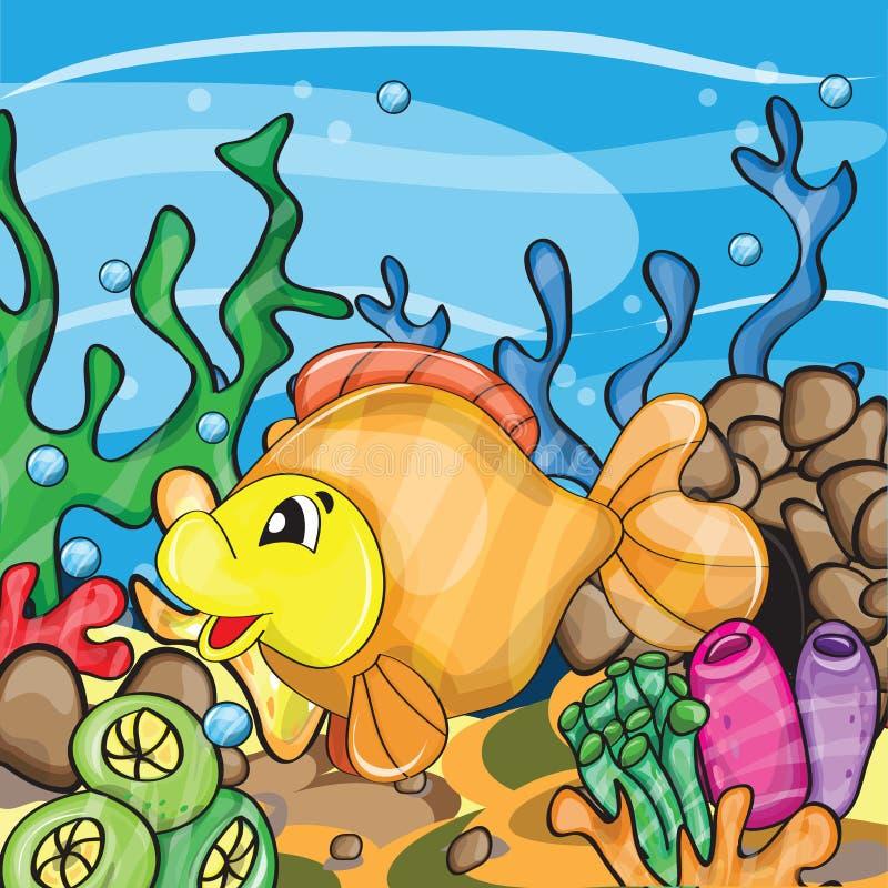 一个愉快的金鱼的例证 向量例证