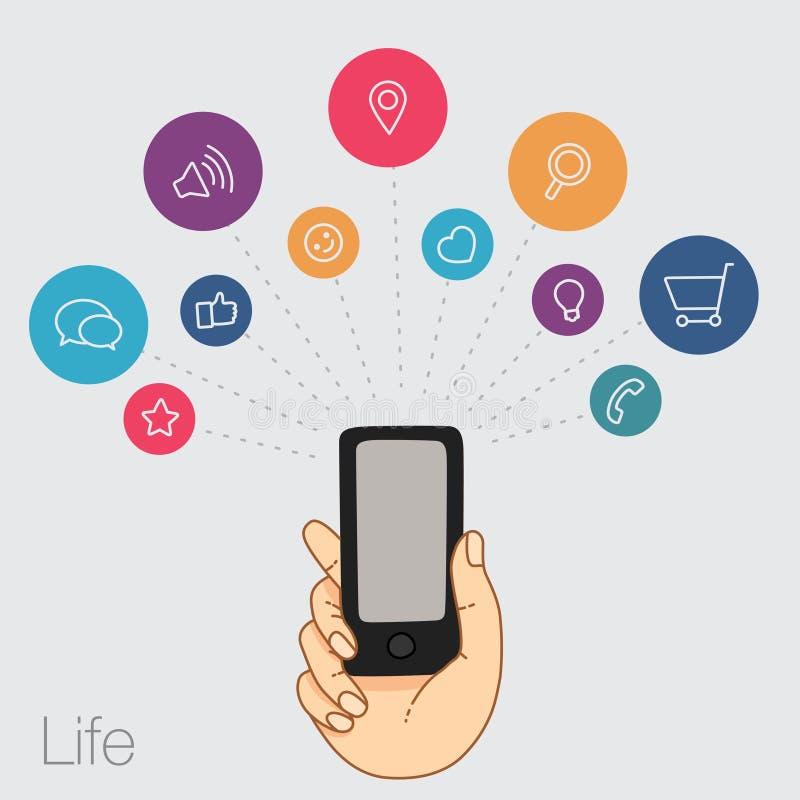 Download 一个手机的示范显示 库存例证. 插画 包括有 阿帕卢萨马, 其它, 程序, 娱乐, 球员, 通知, 云彩 - 62537429