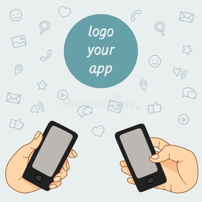 Download 一个手机的示范显示 库存例证. 插画 包括有 网络, 连接数, 保留, 互联网, 电子邮件, 消息, 纵向 - 62537487