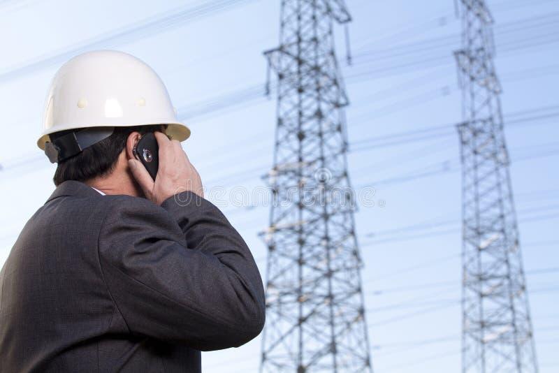 一个手机的建筑经理 免版税库存图片