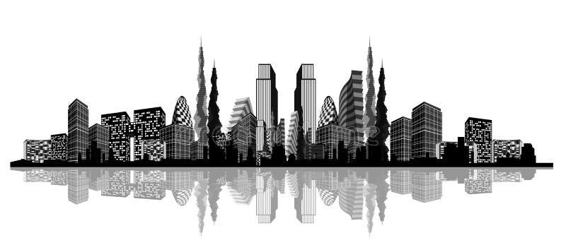 一个抽象城市的剪影 库存例证
