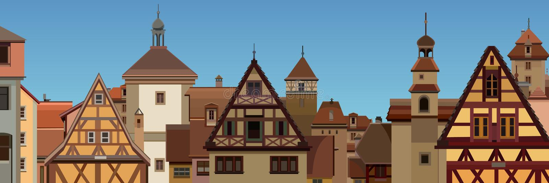一个拉长的欧洲城市的背景有半木料半灰泥的房子的 库存例证