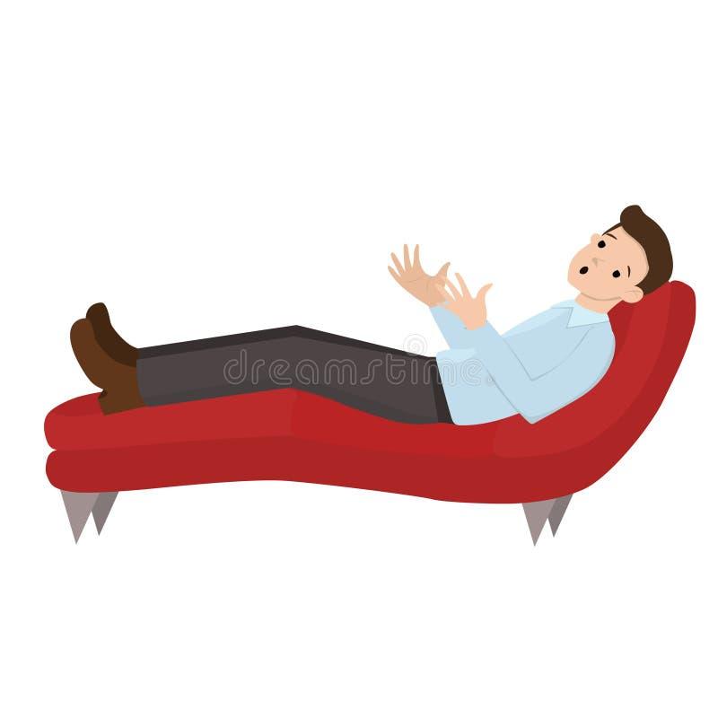 一个招待会的一个人心理学家的人在沙发说谎 与被隔绝的心理学家向量图形的谈话  库存例证