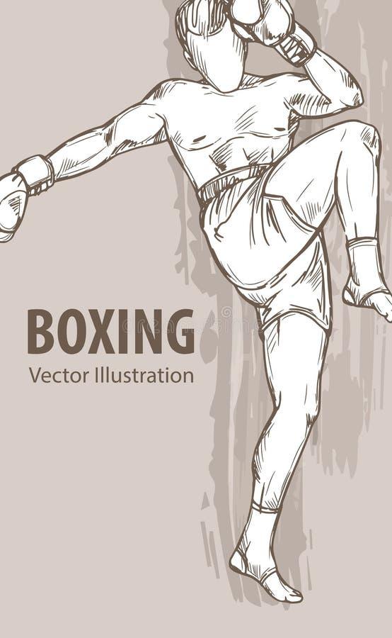 一个拳击人的手剪影 传染媒介体育例证 运动员的图表剪影背景的 库存例证