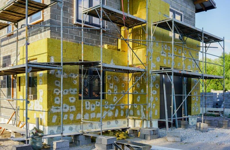 一个新房的具体基础,墙壁建筑 免版税图库摄影