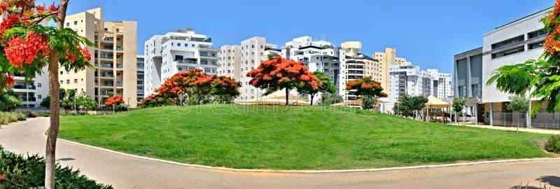 一个新的住宅区的全景与现代房子的和一大环境美化霍隆的疆土在以色列 图库摄影