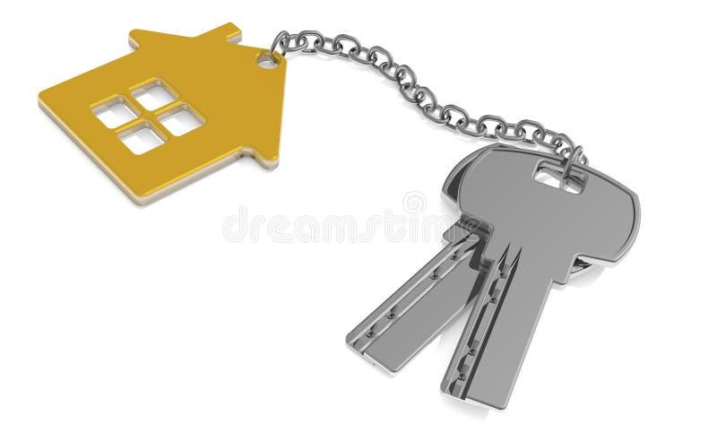 一个新的家庭概念的钥匙-与在白色隔绝的小装饰品房子的议院钥匙 3d翻译 皇族释放例证