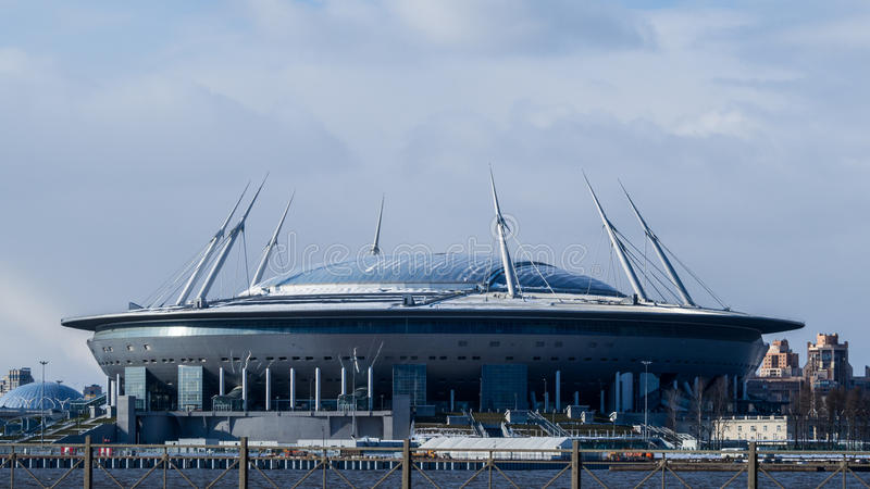 一个新的橄榄球场在圣彼德堡 库存照片