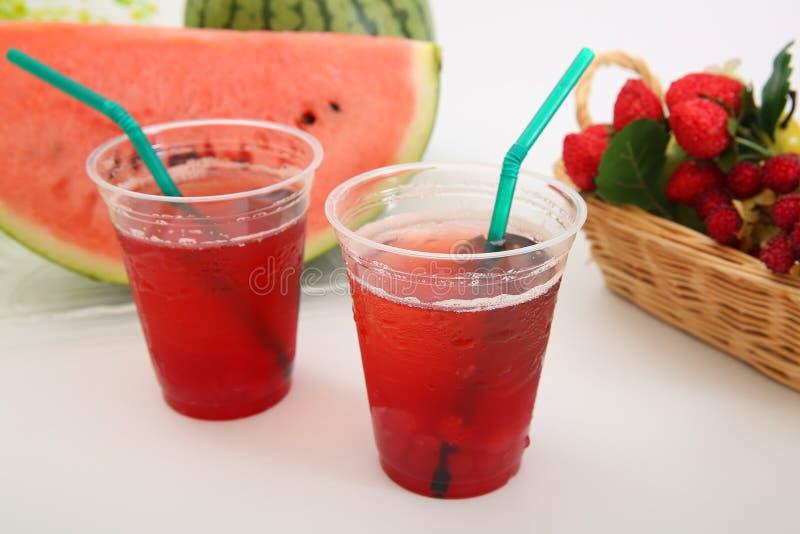 一个新鲜的日本西瓜的汁液 库存图片